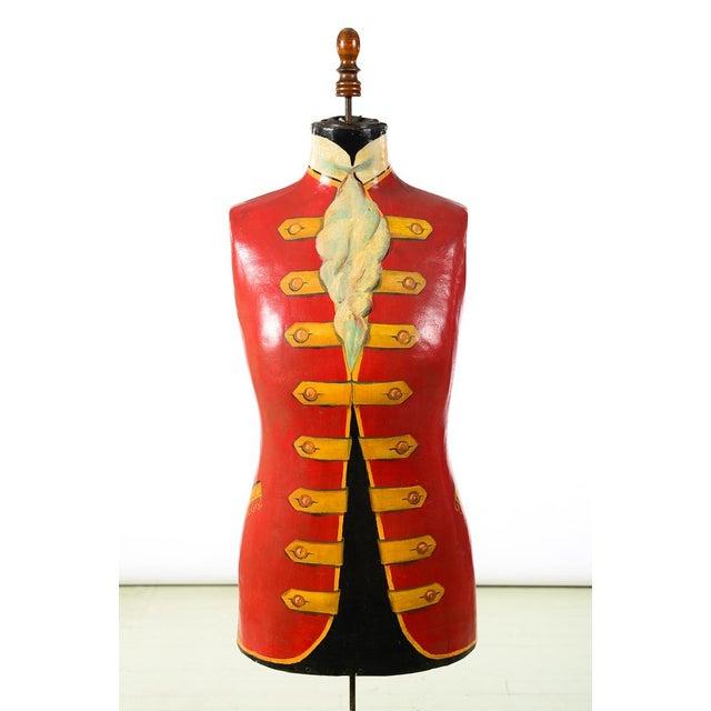 """19th century Antique Mannequin Painted Torso Form w/Cast Iron stand size 15w x 8d x 67""""h"""