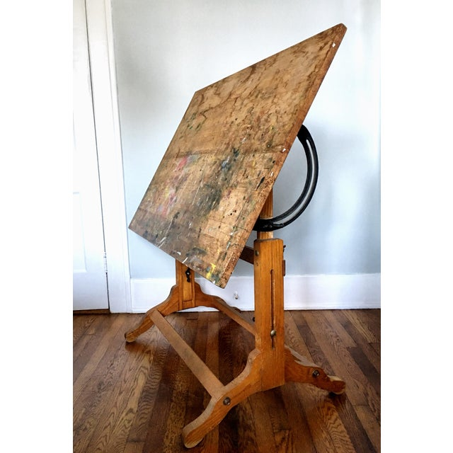 Antique American Adjustable Drafting Desk Table For Sale - Image 9 of 9