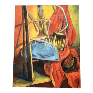 1970's Original Vintage Still Life Painting Signed For Sale