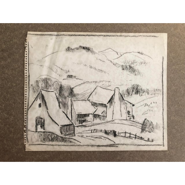 """Drawing/Sketching Materials 1930s Vintage Eliot Clark """"Blue Ridge Farm"""" American Impressionist Inspired Drawing For Sale - Image 7 of 7"""