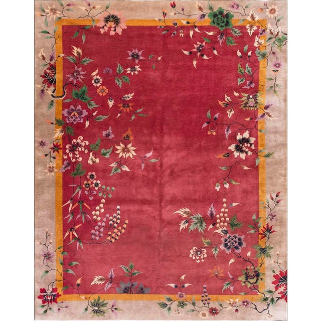 1920s Antique Chinese Art Deco Rug-8′10″ × 11′4 For Sale