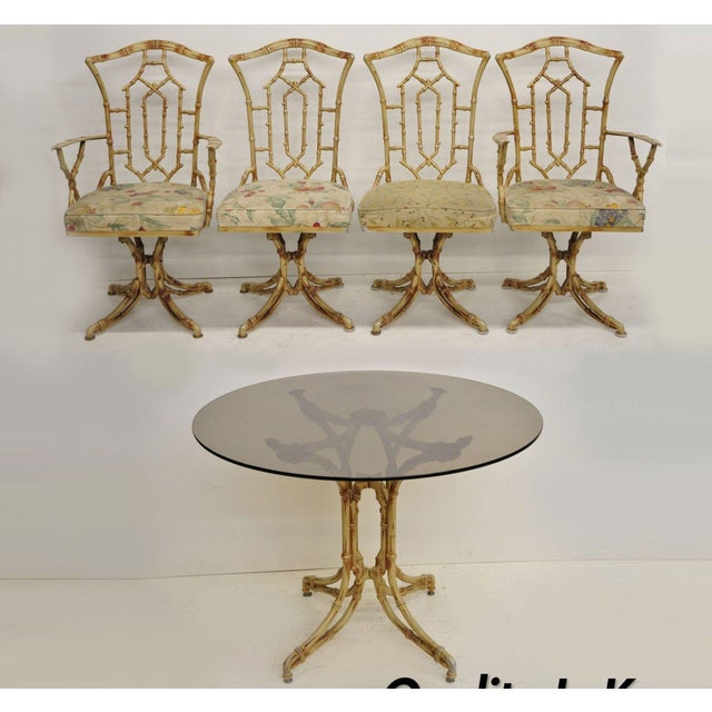 Chinese Chippendale Metal Faux Bamboo 5 Piece Dining Set For Sale - Image 13 of 13