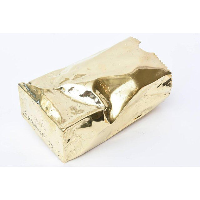 French Hallmarked Limited Edition Brass/ Bronze Crushed Paper Bag Sculpture For Sale In Miami - Image 6 of 11