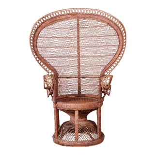 Iconic Bohemian Wicker Emanuelle Peacock Chair, 1970s For Sale