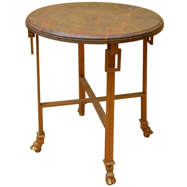 French Marble Top Side Table with Bronze Base - Image 1 of 3