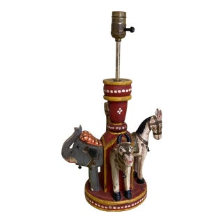 Camel Elephant Wooden Circus Table Lamp** For Sale