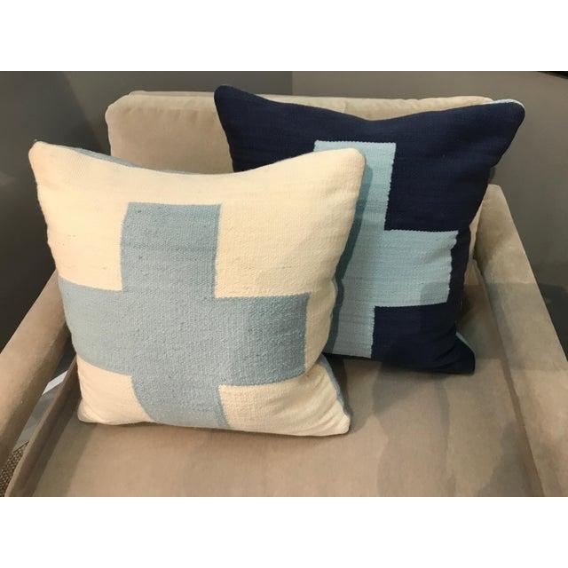 Jonathan Adler Jonathan Adler Reversible Light Blue Cross Pop Wool Throw Pillows - a Pair For Sale - Image 4 of 5