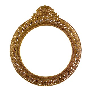 Ornate Round Metal Frame With Crown For Sale