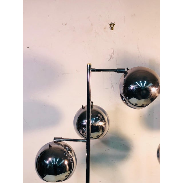 Modern Koch & Lowy Three Globe Shades Chrome Floor Lamps- A Pair For Sale - Image 3 of 7