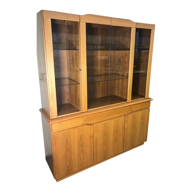 Danish Modern Teak China or Display Cabinet 1980s For Sale