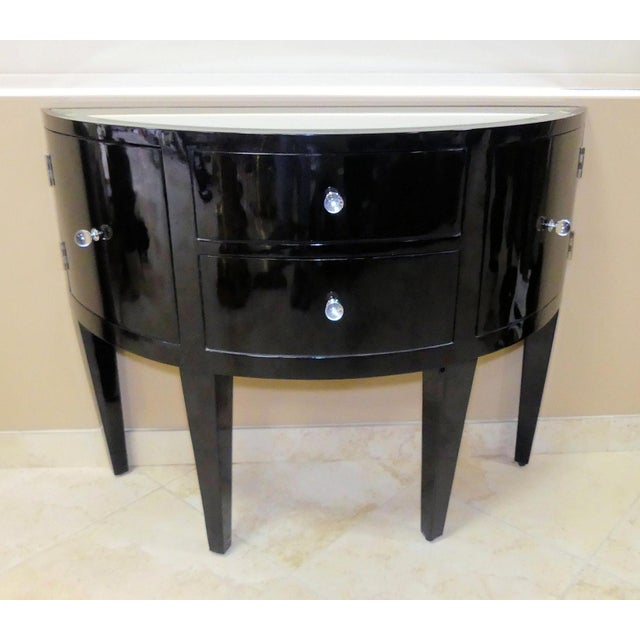 Contemporary Black Lacquered Demilune Console Cabinet With Mirrored Top For Sale - Image 9 of 9