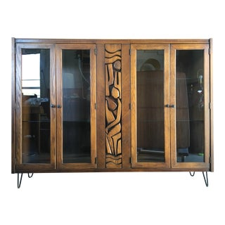 Vintage Mid-Century Modern Brutalist China Display Cabinet by United Furniture.