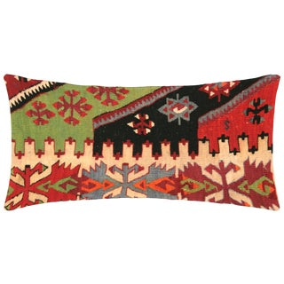 "Nalbandian - 1960s Turkish Kilim Lumbar Pillow - 12"" X 23"" For Sale"
