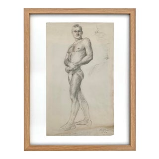 Early 20th Century Framed Academic Figure Drawing For Sale
