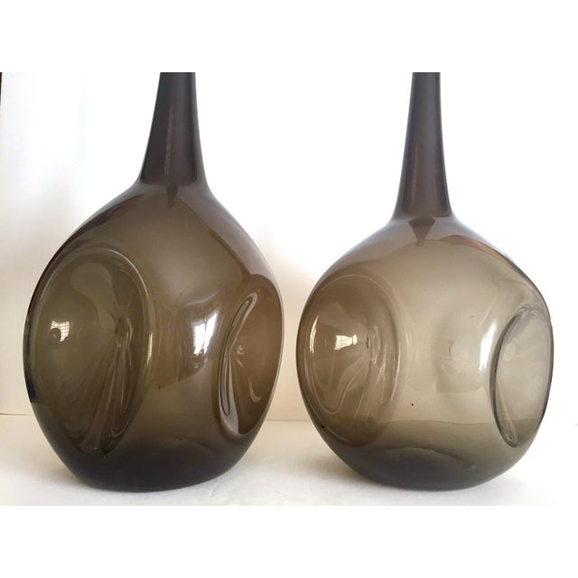 Vintage Mid Century Modern Rare Zeller Art Glass Charcoal Smoke Gray Monumental XL Hand Blown Floor Bottle Dimple Vases - a Pair For Sale - Image 11 of 13