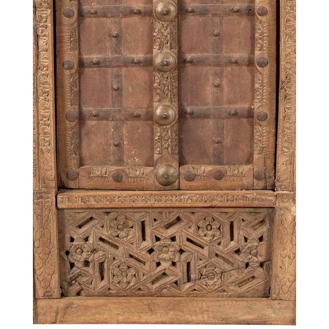 Antique Hand Carved Arched Door With Iron Straps Brass Pins| Indian Carved Door| Old Door Repurposed Wall Art| Rustic Door| Spanish Door For Sale - Image 4 of 6