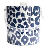 Image of Schumacher Blue and White Iconic Leopard Ice Bucket For Sale