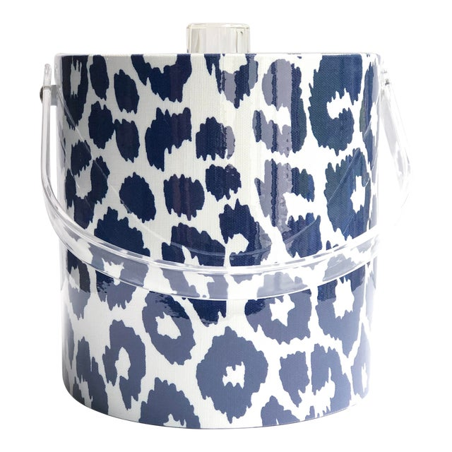 Schumacher Blue and White Iconic Leopard Ice Bucket For Sale