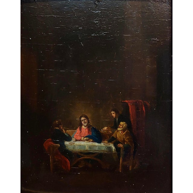Religious Late 18th Century Supper With Jesus Flemish Oil Painting For Sale - Image 3 of 8