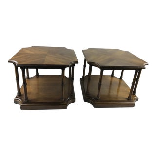 1970s Mid Century Modern Faux Bamboo Brandt Coffee End Tables - a Pair