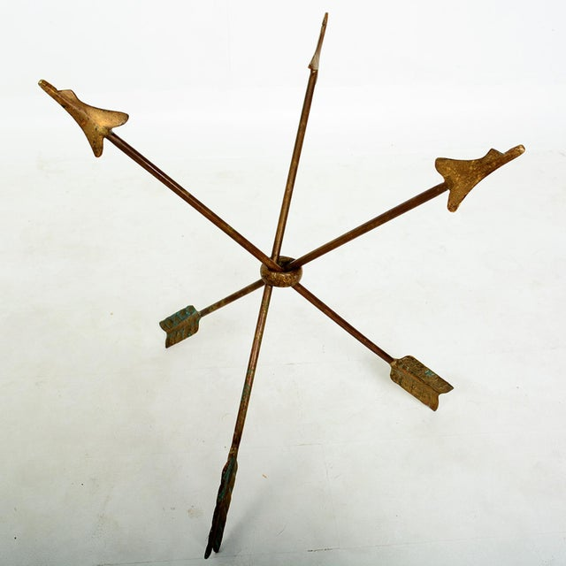 1940s Arturo Pani Bronze Arrows Glass Top Side Tripod Table For Sale In San Diego - Image 6 of 8
