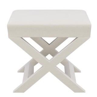 X Bench in White Velvet For Sale