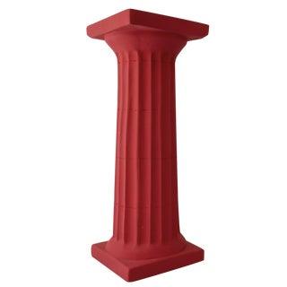 Red Plaster Doric Column Candle Holder For Sale