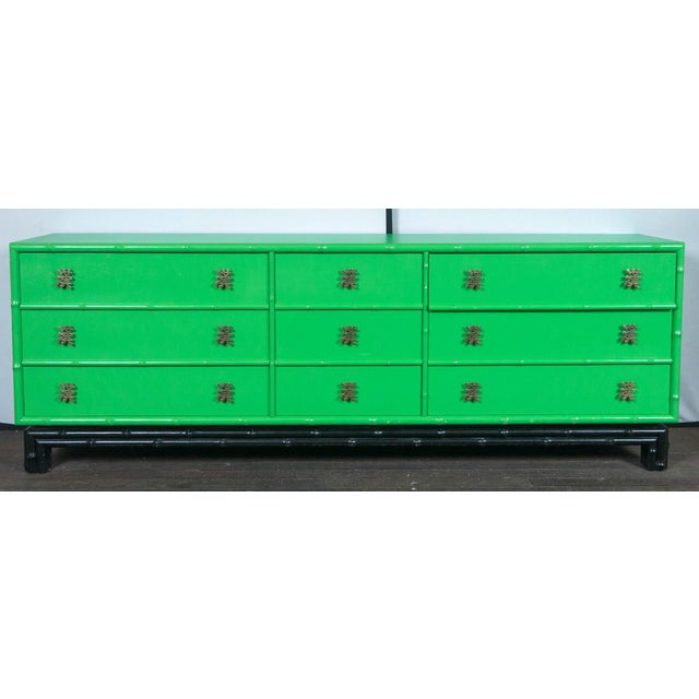 Asian 1970s Chinoiserie Ficks Reed Green Faux Bamboo Credenza For Sale - Image 3 of 9
