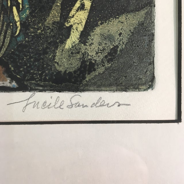 """1970s 1970s """"Night People"""" Figurative Etching by Lucile H. Sanders, Framed For Sale - Image 5 of 9"""