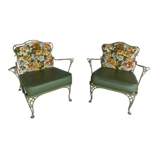 Vintage Russell Woodard Wrought Iron Club Chairs - a Pair For Sale