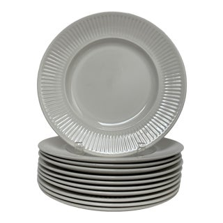 1960s Johnson Brothers White Ironstone Dinner Plates - Set of 11 For Sale