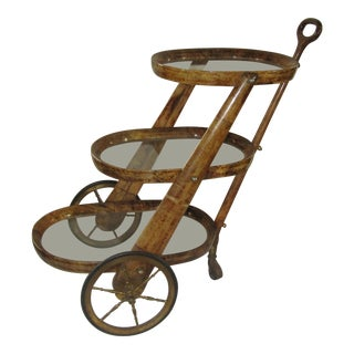 Aldo Tura 3 Tier Goatskin Serving Cart