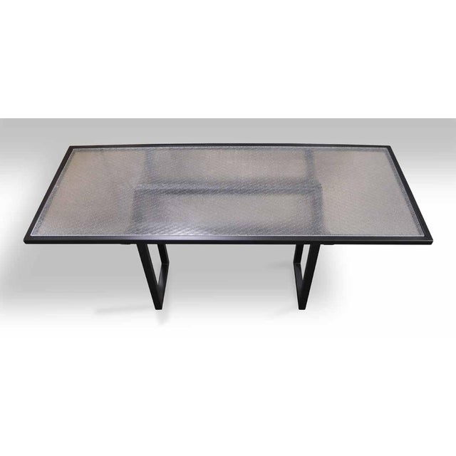 Pebbled Chicken Wire Glass Top Table | Chairish