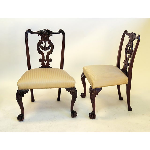 Chippendale Late 19th Century English Chippendale Mahogany Side Chairs - a Pair For Sale - Image 3 of 6
