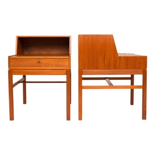 Vintage Mid-Century Danish Teak Nightstand Bedside Tables - a Pair For Sale