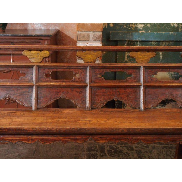 Asian Antique Chinese Shanxi Province Painted Elm Bench, circa 1860 For Sale - Image 3 of 8