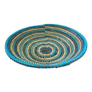 "Handmade Woven Wolof Basket From Senegal 11"" W For Sale"