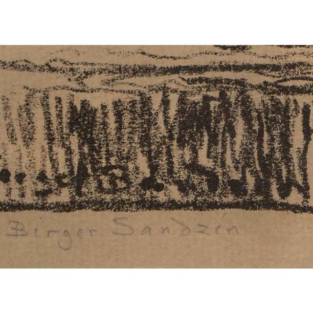 """Expressionism 1923 Birger Sandzen """"Pond With Poplars"""" Original Signed Framed Lithograph For Sale - Image 3 of 10"""