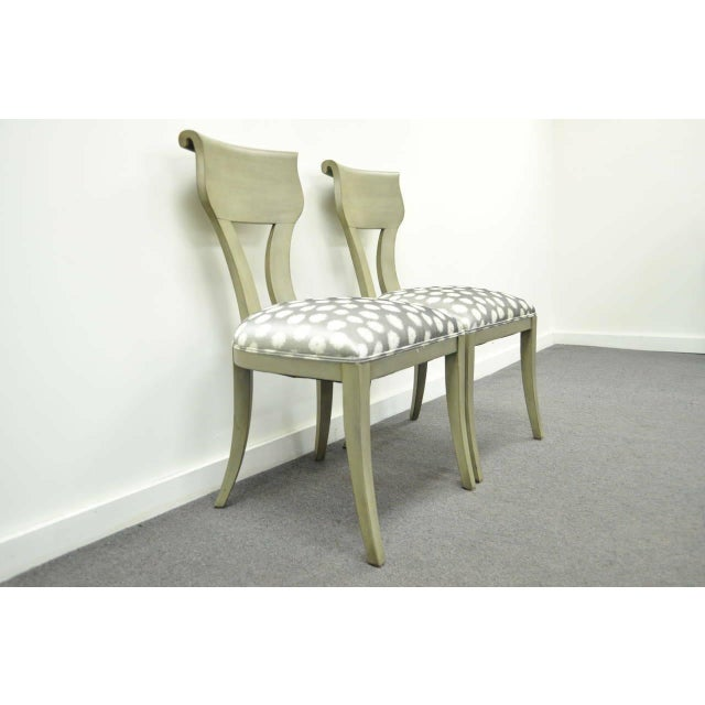Hollywood Regency 1960s Vintage eHollywood Regency Klismos Neoclassical Style Grey Painted Side Chairs- A Pair For Sale - Image 3 of 10