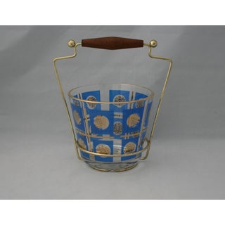 Mid-Century Jeanette Blue and Gold Glass Open Ice Bucket With Goldtone Metal Carrier For Sale