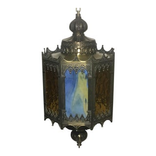 Gothic-Style Swag Lamp With Multi-Colored Glass