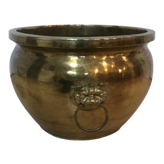 Textured Brass Planter With Foo Foo Dogs For Sale