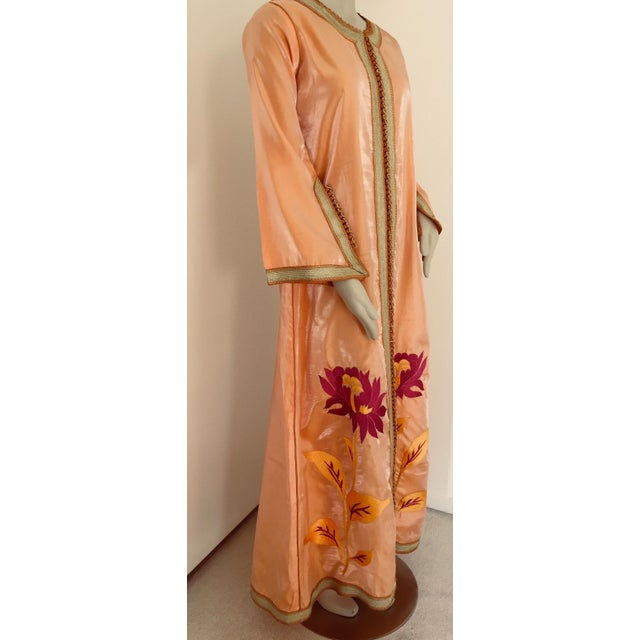Moroccan Vintage Caftan 1970s Kaftan Maxi Dress Orange With Floral Embroideries For Sale - Image 10 of 12