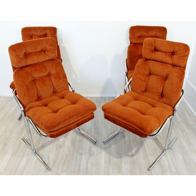 Orange Mid Century Modern Chrome Dinette Set 4 Side Chairs Octagon Glass Top Table 70s For Sale - Image 8 of 12