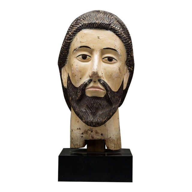 Wooden Head of a Saint For Sale
