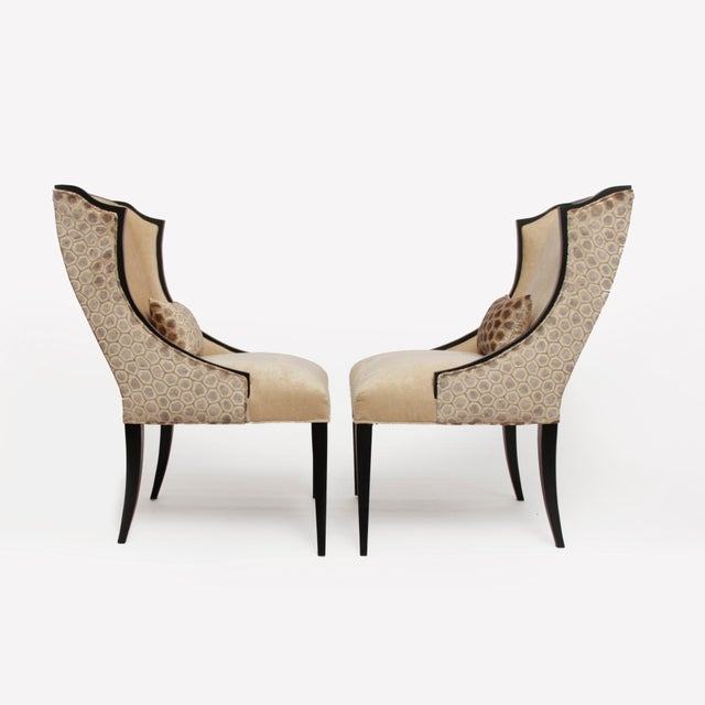 2010s Contemporary French Art Deco Host Wingback Dining Chairs With Lap Pillows - a Pair For Sale - Image 5 of 5