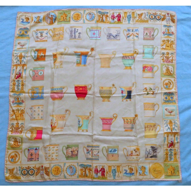 """Vintage Gucci """"High Tea"""" Silk Scarf For Sale - Image 9 of 9"""