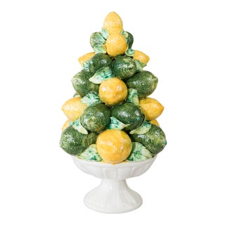 Vintage Italian Majolica Lemon & Lime Topiary For Sale
