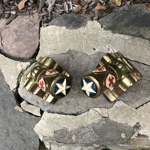 Pair of vintage Mid Century modern MCM Marion Bronze Co. Americana Patriotic Cannon Bookends