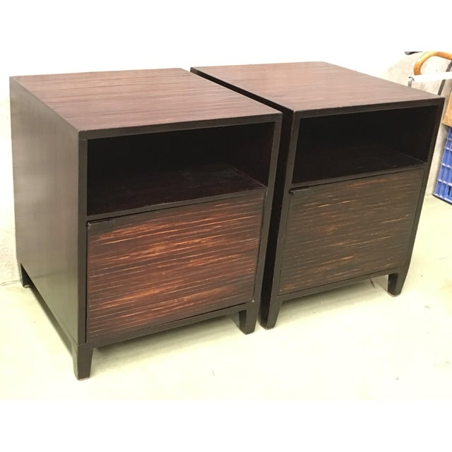 20th Pair of Ebonized Macassar NightStands or Side Tables With One Door For Sale - Image 4 of 12
